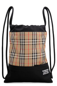 Printed canvas drawstring backpack, Backpack Burberry man