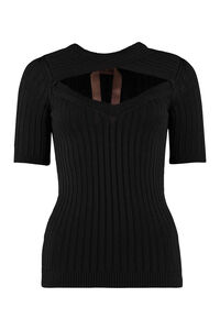Cut-out detail ribbed sweater, Crew neck sweaters N°21 woman