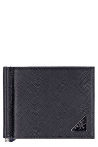 Logo leather wallet, Wallets Prada man