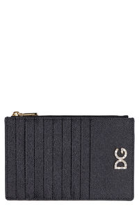 Dauphine print leather card holder, Wallets Dolce & Gabbana man