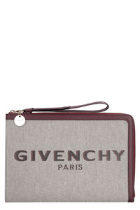 Bond leather and canvas flat pouch, Clutch Givenchy woman