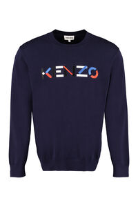 Logo embroidered cotton sweater, Crew necks sweaters Kenzo man