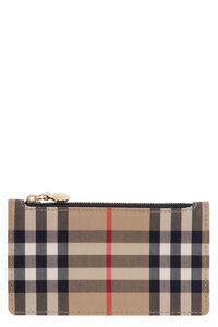 Leather and check fabric card holder, Wallets Burberry woman