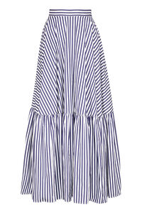 Striped cotton maxi-skirt, Maxi skirts Plan C woman