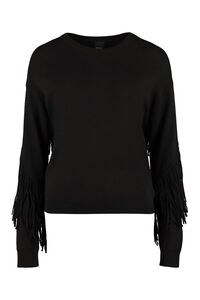 Coperto fringed sweater, Crew neck sweaters Pinko woman