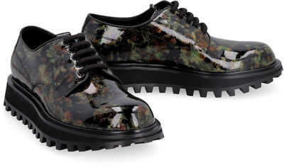 Glittered patent leather derby shoes