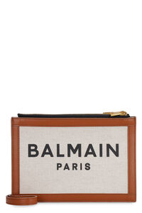 Canvas and leather clutch, Clutch Balmain woman