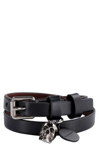 Leather bracelet with metal logo pendant and skull, Jewelry Alexander McQueen man