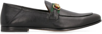 Web detail leather loafers
