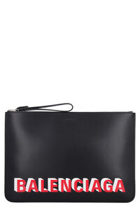 Logo detail flat leather pouch, Poches Balenciaga man