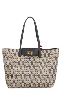 Gancini canvas and leather shopping bag, Tote bags Salvatore Ferragamo woman