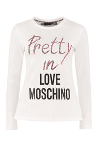 Logo print long sleeve top, Long sleeved Love Moschino woman