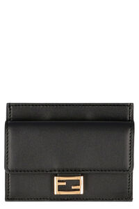 Embossed logo detail leather card holder, Wallets Fendi woman