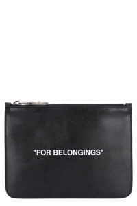 Leather flat pouch, Poches Off-White man