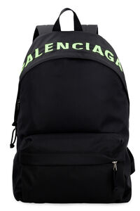Wheel logo detail nylon backpack, Backpack Balenciaga man