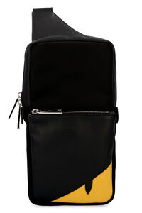 Nylon and leather one-shoulder backpack, Backpack Fendi man