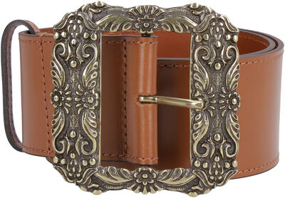 Calf leather belt with buckle