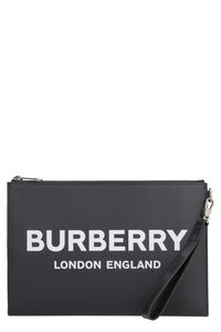 Logoed leather flat pouch, Poches Burberry man