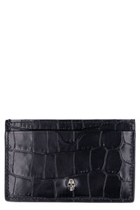 Croco-print leather card holder, Wallets Alexander McQueen man