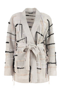 Fringed linen-blend cardigan, Cardigan Canessa woman