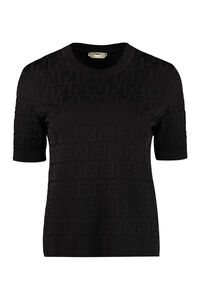 Jacquard knit top, Crew neck sweaters Fendi woman