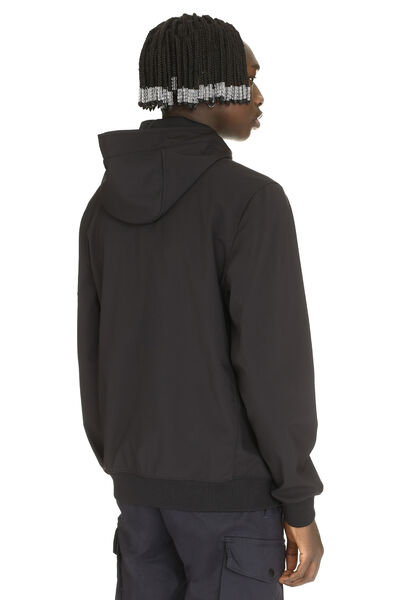 Hooded techno fabric raincoat