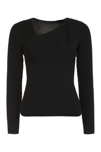 Kuwait ribbed pullover, V neck sweaters Pinko woman