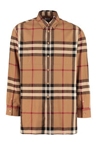 Button-down collar cotton shirt, Checked Shirts Burberry man