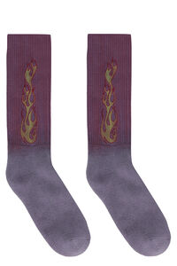 Flames cotton blend socks, Socks Palm Angels man