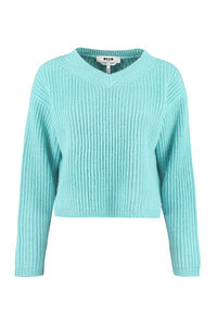 Cropped rib-knit sweater, V neck sweaters MSGM woman