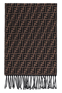 Two-tone fringed scarf, Scarves Fendi man