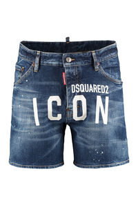 Printed denim shorts, Shorts Dsquared2 man