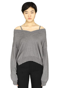 NewBasic off-shoulders pullover, V neck sweaters Maison Margiela woman