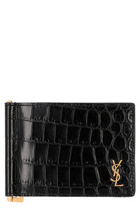 Small leather flap-over wallet, Wallets Saint Laurent man