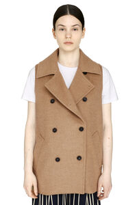Camel-wool double-breasted waistcoat, Vests and Gilets Max Mara woman