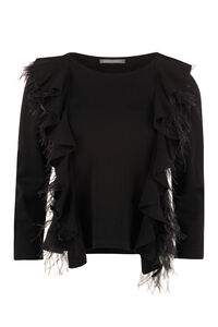 Ostrich feathers sweater, Crew neck sweaters Alberta Ferretti woman