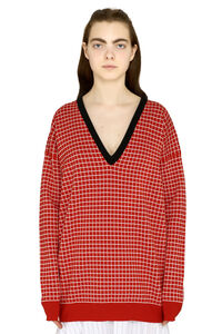 Checked cotton pullover, V neck sweaters Plan C woman