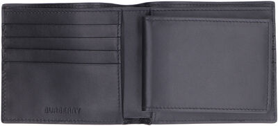 Checked print fabric flap-over wallet