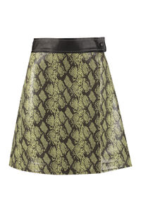 Python print faux leather wrap skirt, Leather skirts Stand Studio woman