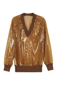 Sequin pullover, V neck sweaters Fendi woman