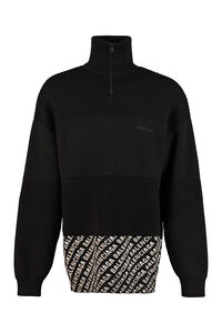 High collar zipped cardigan, Knitted zip throughs Balenciaga man