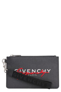 Coated canvas flat pouch, Poches Givenchy man