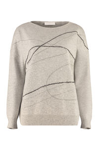 Embroidered wool sweater, Crew neck sweaters Fabiana Filippi woman