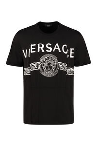 Logo print cotton T-shirt, Short sleeve t-shirts Versace man