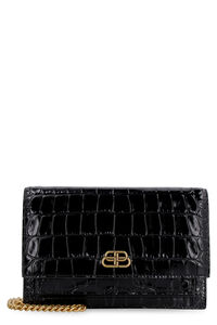 Sharp Croco-print leather clutch, Clutch Balenciaga woman