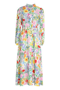 Floral print silk midi dress, Printed dresses Gucci woman