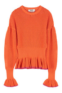 Cotton-blend open-knit pullover, Cardigan MSGM woman