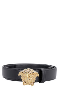 Leather belt with metal buckle, Belts Versace man