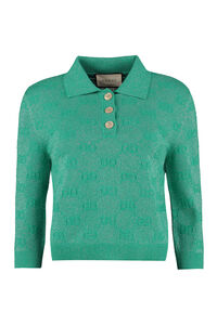 Jacquard knit polo shirt, Polo shirts Gucci woman