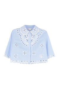 Embroidered striped cotton shirt, Shirts Red Valentino woman